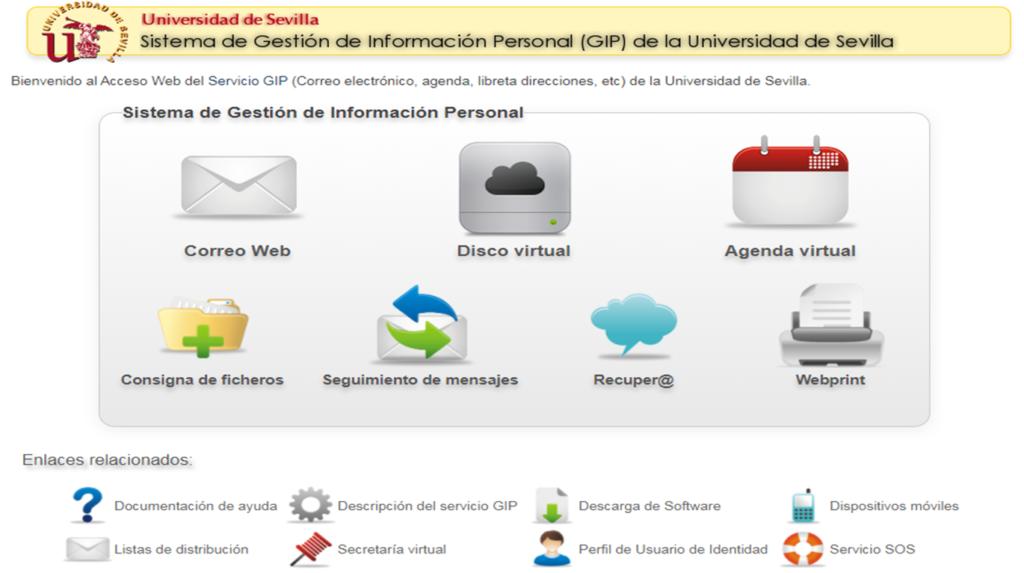 Buzonweb US ES Gestion de informacion personal universidad de Sevilla