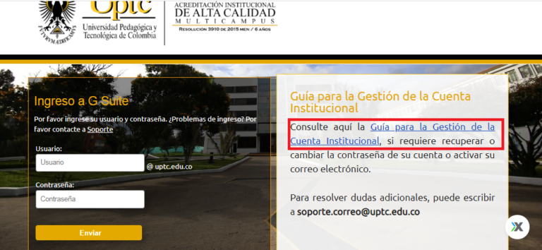 Acceso correo institucional UPTC - Correo UPTC