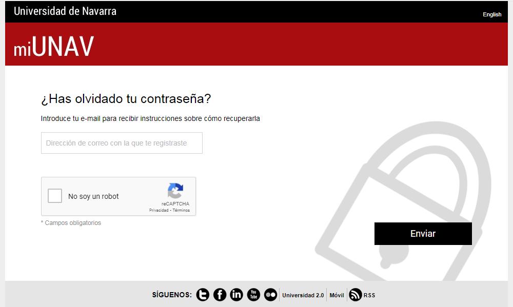 Cambiar contraseña portal unav - correo Univeridad de Navarra