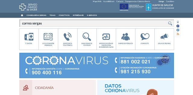 buscar en la pagina web el correo sergas